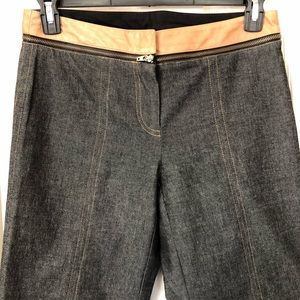 Poleci Jeans Black Denim with Brown Leather Trim 8